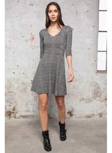 DeFacto Kareli Slim Fit Elbise Gri